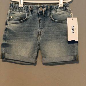 NWT Girls Denim Jean Shorts with Faux Drawstring
